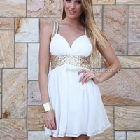 PRE ORDER - GOLDEN MOMENT DRESS (Expected Delivery 25th September, 2014) , DRESSES, TOPS, BOTTOMS, JACKETS & JUMPERS, ACCESSORIES, 50% OFF SALE, PRE ORDER, NEW ARRIVALS, PLAYSUIT, GIFT VOUCHER,,White,Sequin,Gold Australia, Queensland, Brisbane