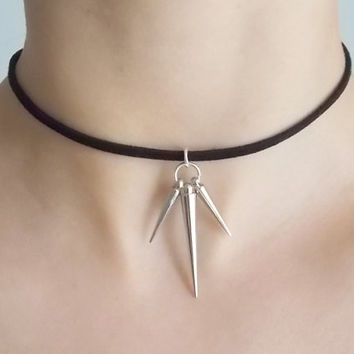 silver spike choker black suede choker fashion choker handmade jewellery black cord choker spike necklace black cord necklace gift for women