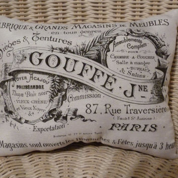 Paris French Pillow of Vintage Ad w French Collage back