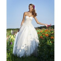 Vintage Strapless Sweetheart Applique Satin Organza A-Line Long Wedding Dress - Basadress.com