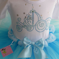 5T Cinderella Costume Disney dress GLITTER tutu rhinestone carriage t shirt