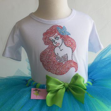 3T/4T Ariel Little Mermaid glitter tutu rhinestone t-shirt Costume Disney dress
