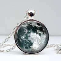 Full Moon Necklace : Pendant. Charms. Picture Pendant. Photo Pendant. Space. Universe. Silver Jewelry. Handmade Jewelry. Lizabettas (1271)