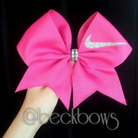 "Pink with Sparkly Nike Swoosh 3"" Cheer Bow"