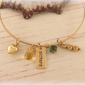 Gold Charm Bracelet, Birthstone Bangle, Sisters, Two Peas in a Pod Bangle, Personalized Birthstone Jewelry, Family Friendship Jewelry, Heart