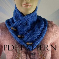 KNITTING PATTERN COWL - Linda Cowl with wooden buttons pdf pattern