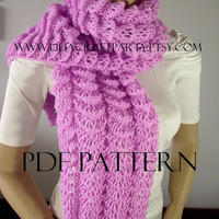 KNITTING PATTERN SCARF - Angel Wings Long Chunky Scarf Cowl - pdf Pattern