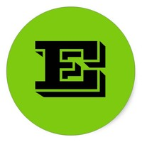 Capital Letter E Large Green Stickers by Janz