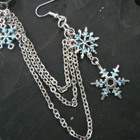ONE snowflake ear cuff chained earring snowflakes aqua rhinestones in frozen winter  hippie belly dancer  beach hipster and fantasy style