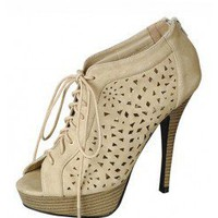 CUT OUT DESIGN LACE UP HEELS @ KiwiLook fashion