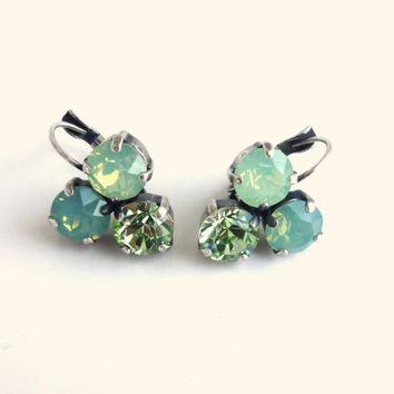 Swarovski crystal earrings, triple stone, blue-green Pacific opal, designer inspired Siggy bling
