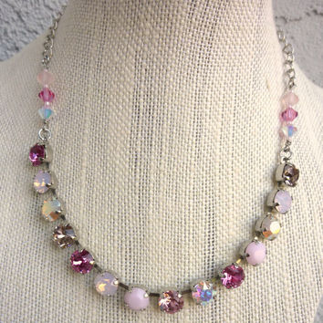 Swarovski crystal necklace, pink bling, bridesmaids gift, designer inspired Siggy bling, GREAT PRICE