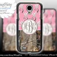 Monogram Galaxy S4 case S5 Browning Pink Real Tree Camo Deer Personalized RealTree Samsung Galaxy S3 Case Note 2 3 Cover
