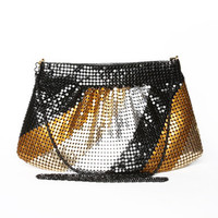 Metallic Stripe Glomesh Bag