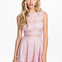LACE PANEL INSERT DRESS - Sleeveless pale pink lace dress with transparent panels