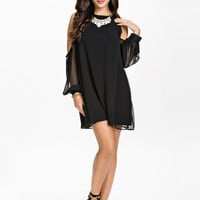 OPEN SLEEVE SHIFT DRESS - Long sleeve open shoulder black dress