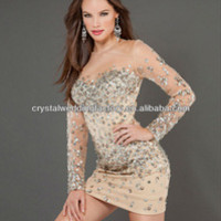 Free Shipping 2013 Heavy Beaded Sequined Mini Long Sleeve Champagne Cocktail Dress Cwfac5259 - Buy Long Sleeve Cocktail Dress,Long Sleeve Dress 2013 Formal Tight,Long Sleeve Evening Sequins Beaded Dresses Product on Alibaba.com