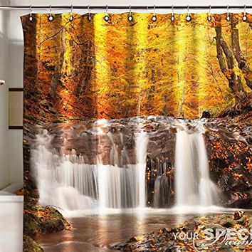 Bath Shower Curtain gold autumn waterfall fall