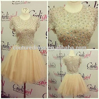 Wholesale Autumn Formal Sexy Short Mini Dresses Beaded Full Top O Neck Cap Sleeve Champagne A Line Party Dress 2014 Ae-091 - Buy Party Dress,Dress For Party,Sexy Short Mini Dress Product on Alibaba.com