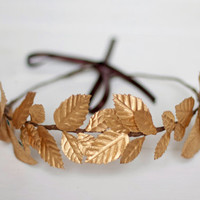 Edinburgh - Floral Crown made with golden leaves