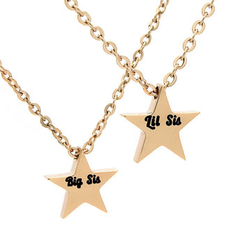 "Sisters Necklace Two Sister Tiny  Gold Star Necklace Perfect Sisters Gift with 18""chains"