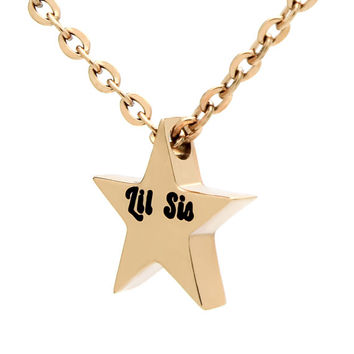 "Little Sisters Necklace Tiny Gold Star Necklace Perfect Sister Gift, 18""chain included"