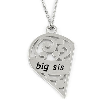 "Big Sis Necklace, Half Heart Big Sister Necklaces, Perfect Sister gift 18"" Chains Included"