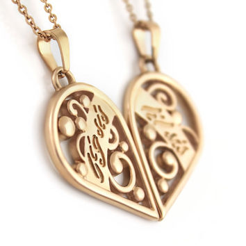 "Sister Heart Necklaces - Heart Necklace Set (2pcs) Engraved with ""Lil Sis"" and ""Big Sis"", 18"" Chains Included"
