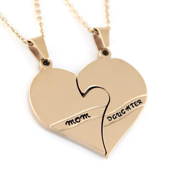 """Daughter Mother Double Heart Necklace, Split Heart Neckalce for Mother (2pcs) 18"""" Chains Included"""