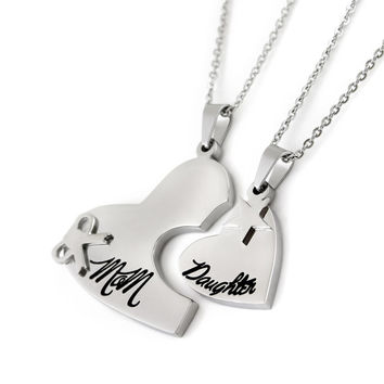 """Mother Daughter Necklace Set Heart Pendant Two Heart Necklace Set (2pcs) 18"""" Chains Included"""