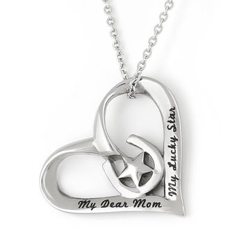 """Heart Necklace - Mother Necklace Engraved with """"My Dear Mom My Lucky Star"""", 18"""" Chains Included"""