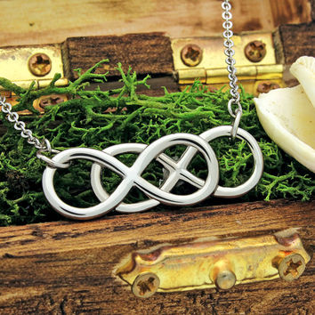 "Infinity Necklace - Double Infinity Symbol Necklace, 18"" Chains Included"