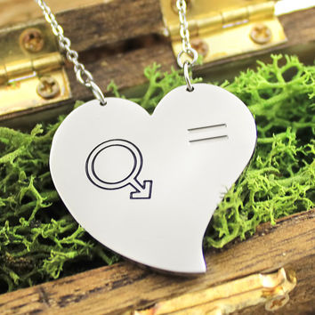 """Heart Necklace - Gay Necklace Engraved with """"Pride"""", 18"""" Chains Included"""