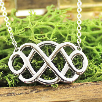 Infinity Necklace - Double Infinity Symbol Necklace, 18'' chains included
