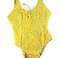 Vintage Womens Swimsuit Sasson Yellow One piece 80s Size 11-12 Un used