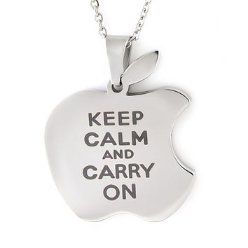 """Keep Calm Apple Necklaces Infinity Necklace Apple logo with Engrave Perfect gift for any Apple Products Lover 18"""" Chains Included"""