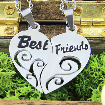 """Heart Necklace Set (2pcs) - Friend Necklaces Engraved with """"Best"""" and """"Friends"""", 18"""" Chains Included"""