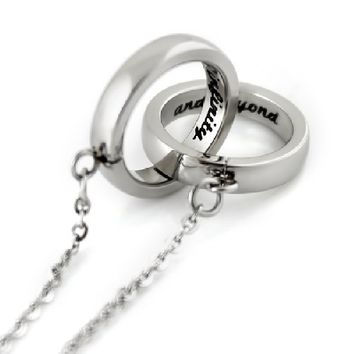 "Infinity Necklace, Interlocking Bands ""To Infinity and Beyond"" Engraved inside, Unisex Two Rings Pendant"