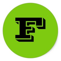 Capital Letter F Large Green Stickers by Janz