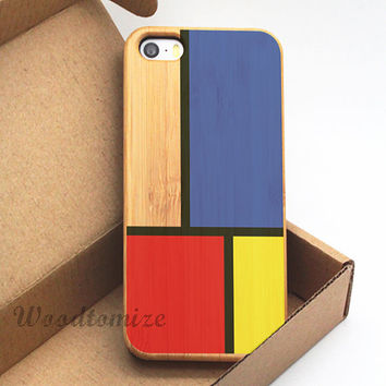 iPhone 4/4s 5/5s 5c Wood cover, de stijl geometric colorful print case, yellow blue red, Bamboo, Cherry wood, FREE screen protector - W55