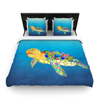 """Catherine Holcombe """"Bubbles"""" Blue Turtle Woven Duvet Cover"""