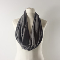 CHARCOAL GRAY Cowl Neck Scarf - Gray Infinity Scarf - Cotton Scarf - Available in Many Colors