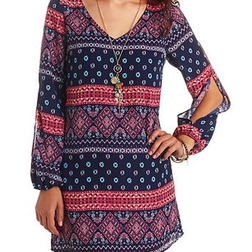 SCARF PRINT LONG SLEEVE COLD SHOULDER SHIFT DRESS
