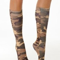 Camo Socks Knee High Trouser Womens Sock Military Army Costume Accessory Soxs