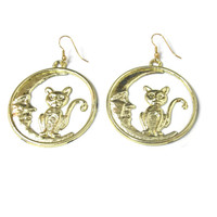 Vintage Cat in the Moon Earrings 80s Gold Hoop Earrings
