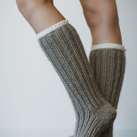 Knitted Slippers, Chunky, Thick Slipper Socks, For Her, Stocking Stuffers, Women's Fall Accessories, Slipper Sock with Lace Ruffle (SK-148)