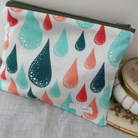Zipper Pouch, Blue and Red Raindrops