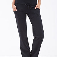 FOREVER 21 Fold-Over Drawstring Sweatpants Black