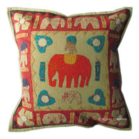 "16x16"" Red Pillow, Indian Vintage Elephant Pillow, Tribal Pillow, Cotton Pillow, Patchwork Pillow, Bedroom and Living Room Pillow Cover"