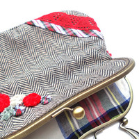 Herringbone applique clutch, with handmade tartan flowers and lace. Grey and red. OOAK